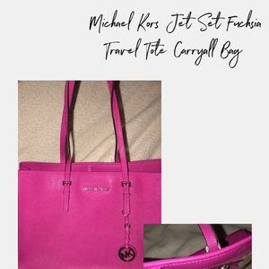 Michael Kors Jet Set Fuchsia Travel Carryall Tote